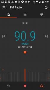 "Moto FM Radio app tuned to a ""favorite"""